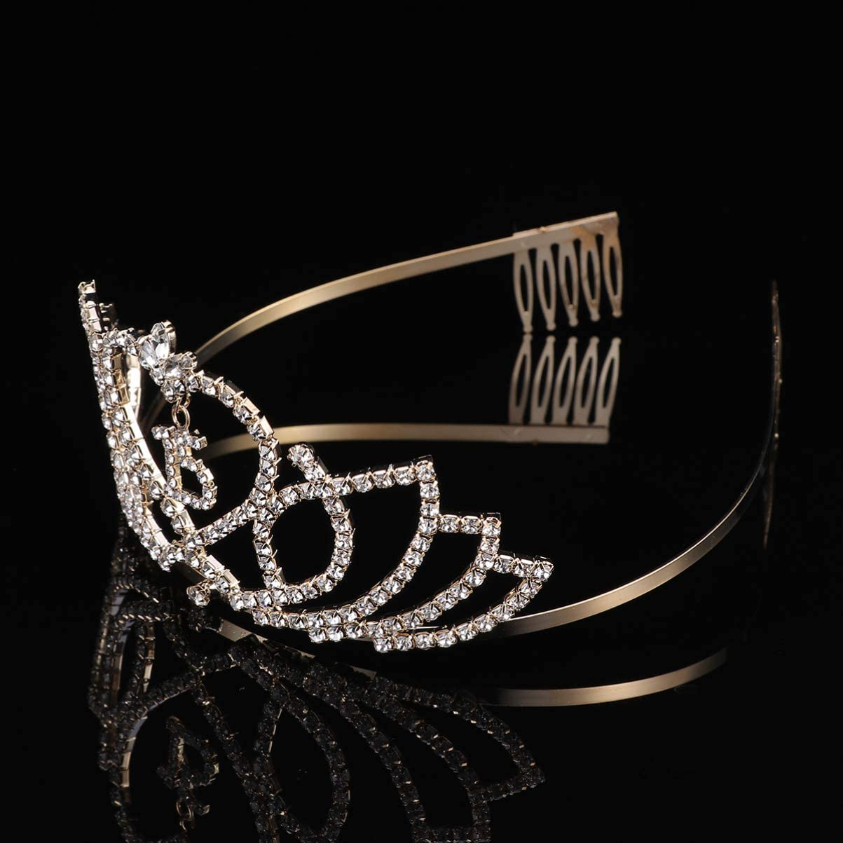 Lurrose Tiara de Cumplea/ños de 15 A/ños de Cristal Corona de Princesa Diadema de Fiesta Cumplea/ños para Ni/ñas