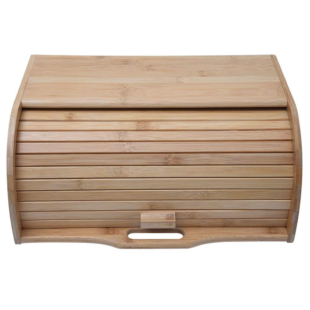 WONdere Natural Wooden Roll Top Bread Box Kitchen Food Storage (Bamboo)