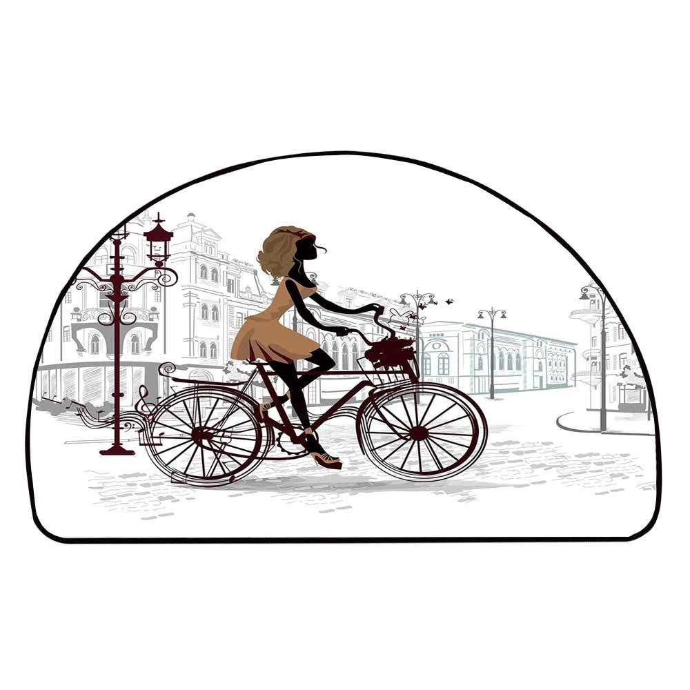 C COABALLA Teen Room Decor Comfortable Semicircle Mat,Young Girl in Paris Streets with Bike French Display Decorative for Living Room,11.8'' H x 23.6'' L