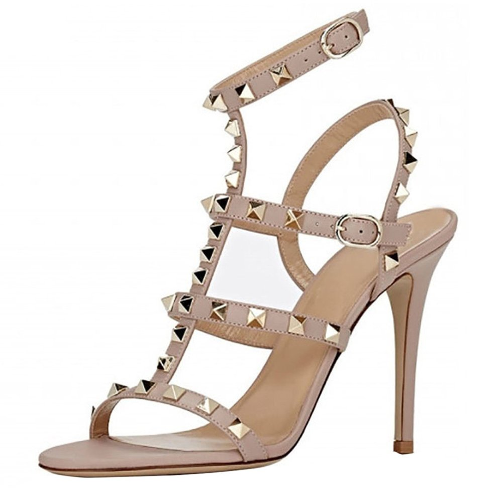 Nude(matte) VOCOSI Women's Ankle Strap High Heels Studded Strappy Stilettos Open Toe Dress Sandals