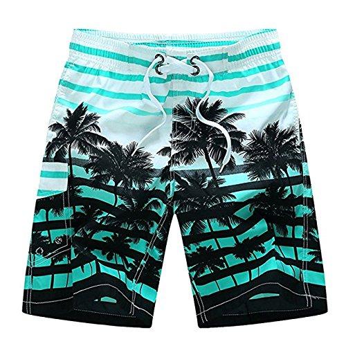Tree Stripe - Newland Men's Colorful Stripe Coconut Tree Beach Shorts Swim Trunks Blue 33-34 Waist