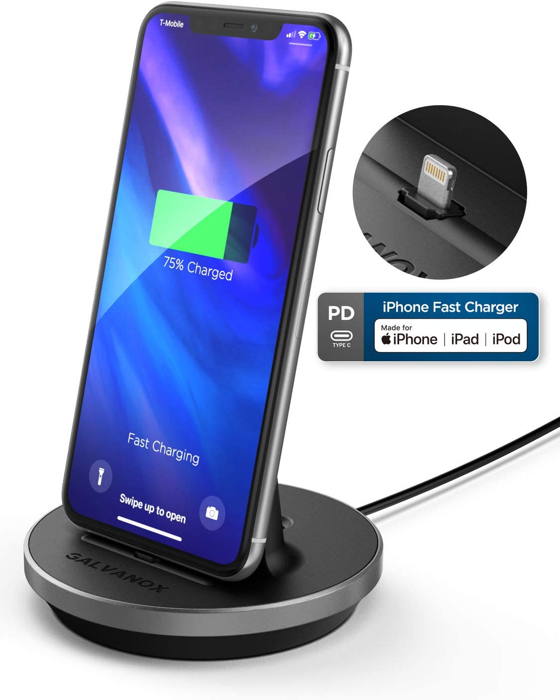 Encased iPhone Charger Stand (MFi Certified) Fast Charging Lightning Desktop Holder Dock with Built-in USB C Cable for Apple iPhone 8/8 Plus/X/Xs Max/XR/11/Pro Max
