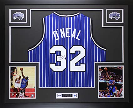 141a98aff98 Shaquille O Neal Autographed Pinstriped Orlando Jersey - Beautifully Matted  and Framed - Hand Signed