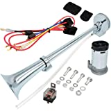 airzir 12v air horn kit, chrome plated zinc single trumpet air horn with  compressor for