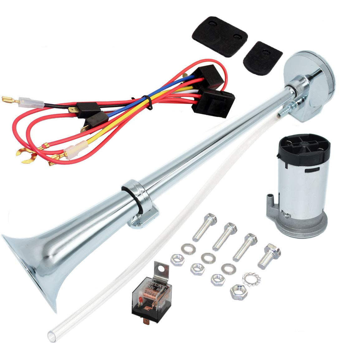 Airzir 12V Air Horn Kit Chrome Plated Zinc Single Trumpet Air Horn with Compressor for Any 12V Vehicles Car Truck RV Van SUV Motorcycle Off Road Boat