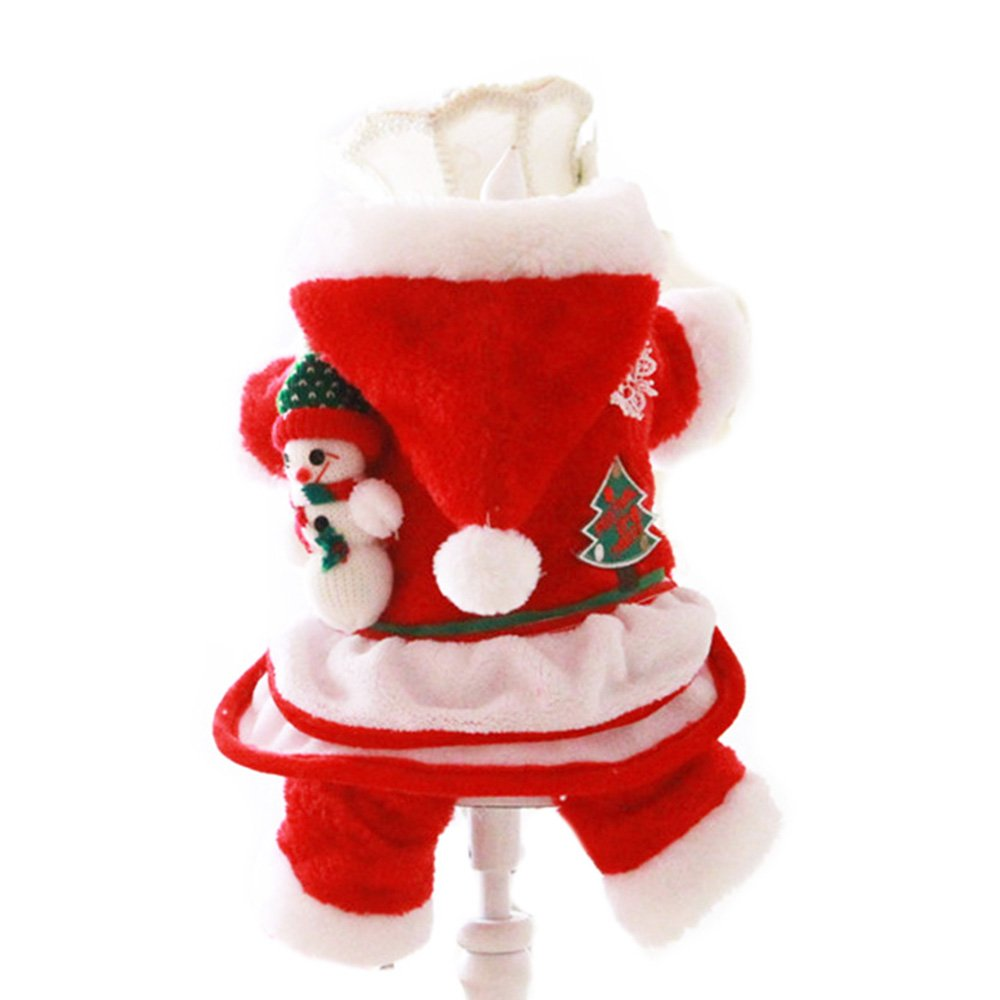 Red XS=8 Red XS=8 FLAdorepet Christmas Dog Cat Pet Santa Costume Clothes Outfits Cute Winter Warm Fleece Dog Jacket Coat Dog Hoodie Jumpsuit Clothing (XS=8, Red)