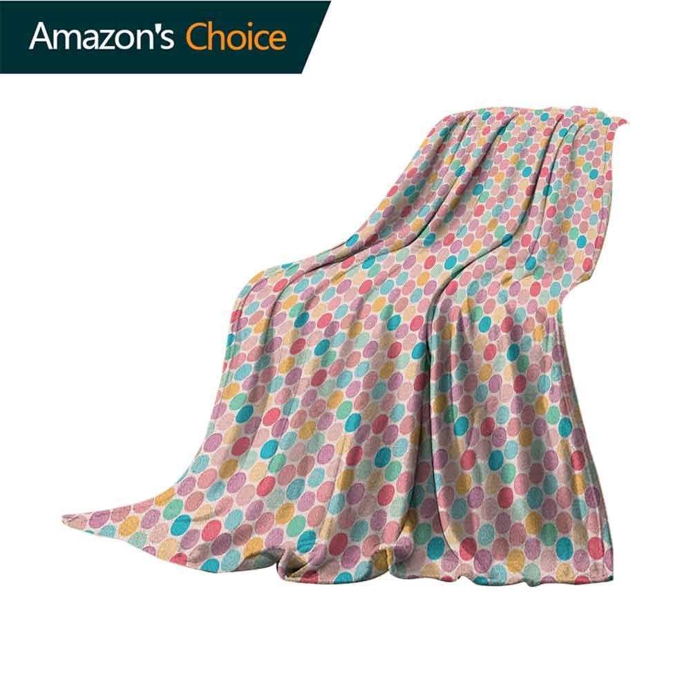 Pastel Summer Blanket,Retro Style Colorful Spots with Little Dots in Doodle Style Modern and Childish Microfiber All Season Blanket for Bed or Couch Multicolor,50'' Wx70 L Multicolor