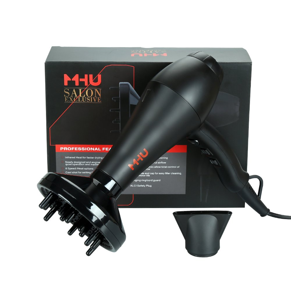 MHU Professional Infrared Ionic Hair Dryer With Concentrator & Diffuser 1875w AC Motor 2 Speed And 3 Heating 2.65M Salon Cable Blow Dryer, Black by MHU (Image #7)