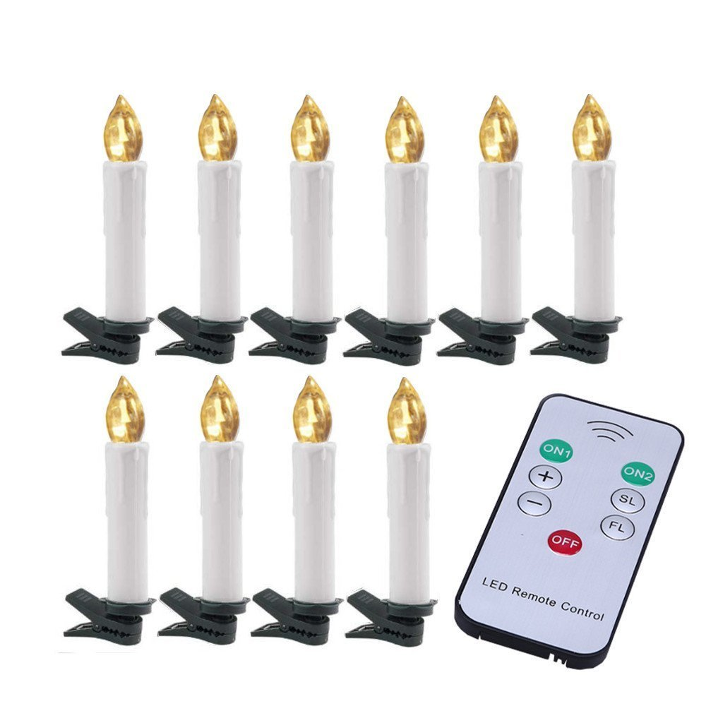 Taper Candle Light, WCIC 10PCS/Set Flameless Flickering Timer Remote Control LED Candle Lights with Removable Clips for Home,Votive,Wedding Decor,Christmas, Parties