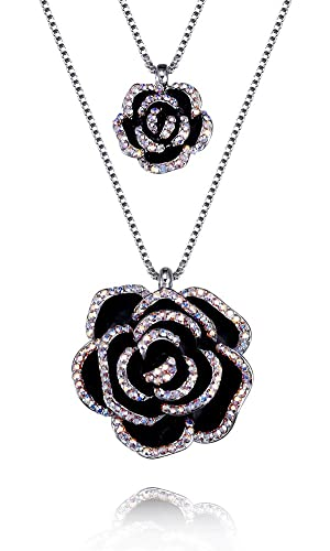 FAPPAC Double Flower Pendant Necklace Enriched with Swarovski Crystals