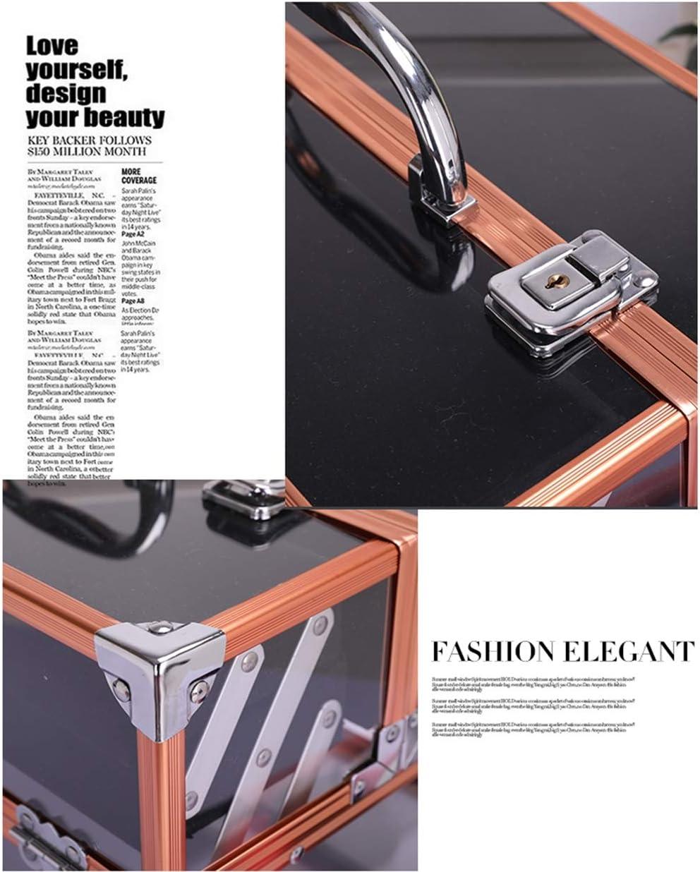 Portátil de gran capacidad de cosméticos transparentes herramientas de belleza de aluminio caja de cosméticos de almacenamiento de múltiples capas: Amazon.es: Belleza