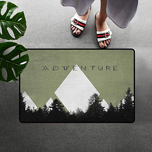 alilihome Microfiber Absorbent Bath Mat Indoor/Outdoor/Front Door/Bathroom Mats Rubber Non Slip Adventure,Forest with Halftone Effect Hipster Typography Camping in Mountains, Army Green Black White