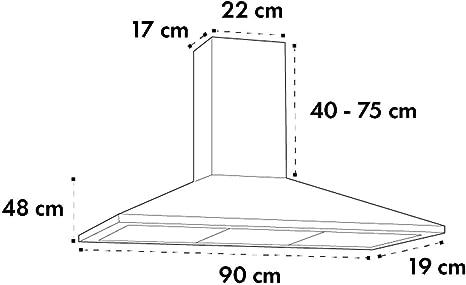 Klarstein Zugspitze 90 Campana extractora - Extractor de pared, Extractor de humos, 65 W, Absorción de 310m³/h, Ventilación y absorción, Iluminación LED de la cocina, Filtro de grasa, Negro: Amazon.es: Hogar