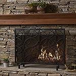 Veritas Single Panel Black Iron Fireplace Screen from GDF Studio