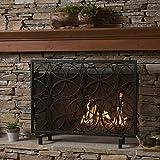 Veritas Single Panel Black Iron Fireplace Screen