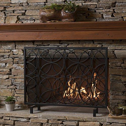 GDF Studio 301548 Veritas Single Panel Black Iron Fireplace Screen,