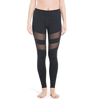 f869d798a4 OwnShoe Women's Yoga Pants Mesh Stitching Tummy Control Running Athletic  Workout Tights Leggings(Black)