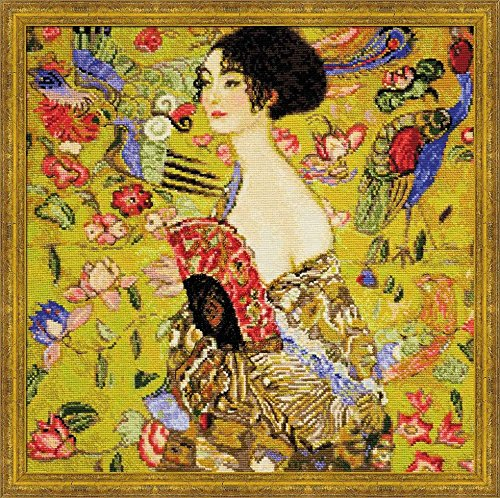 RIOLIS 1226 - Lady With a Fan After G. Klimt`s Painting - Counted Cross Stitch Kit 13.75