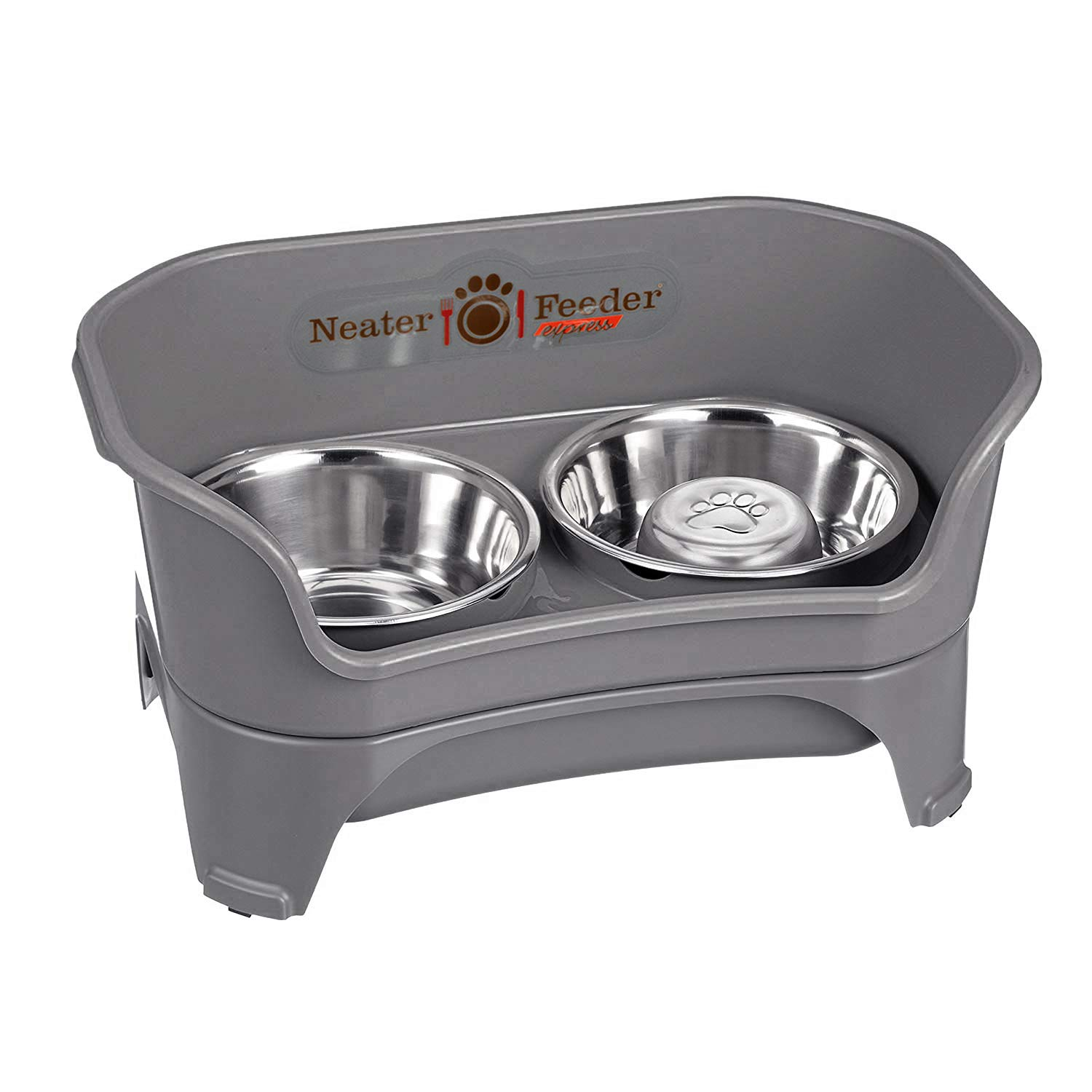 Neater Feeder Express (Medium to Large Dog, Gunmetal) & Slow Feed Bowl Combination Package by Neater Feeder