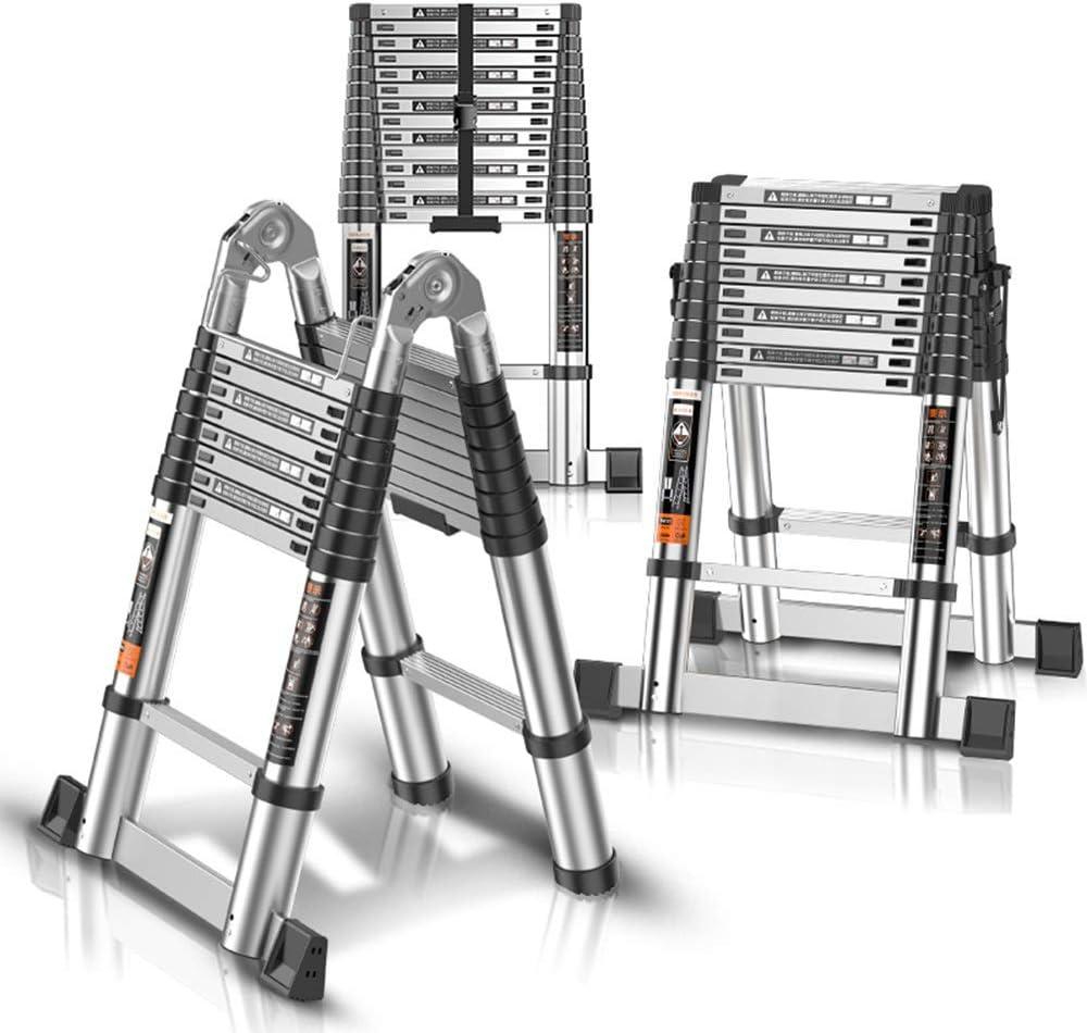 DD Escalera Telescópica, Escalera Telescópica Aluminio Portátil, Escalera Escalones, Para Home Loft Office EN131 Certified 330 Lb Capacity (Tamaño : 2.5+2.5=5m Straight ladder): Amazon.es: Bricolaje y herramientas