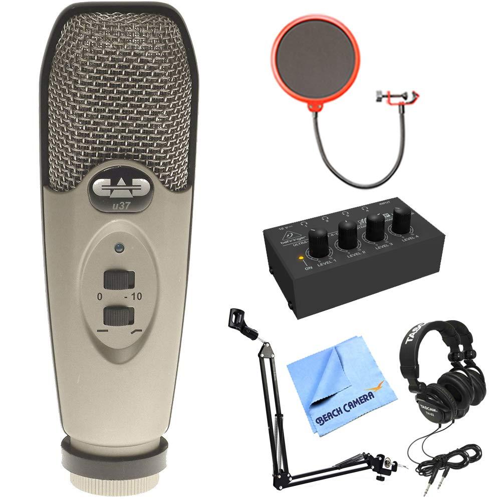 CAD Audio USB Large Diaphragm Cardioid Condenser Microphone w/Tripod, 10' Cable Silver + Wind Screen + Mic Suspension + Tascam TH-02-B Closed-Back Headphones + Behringer HA400 Stereo Headphone Amp E8CADU37