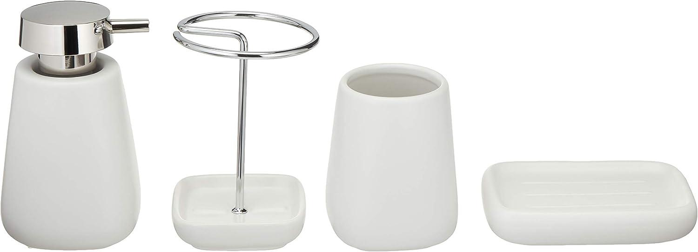 Basics 4-Piece Ceramic Bathroom Accessories Set, White: Home & Kitchen