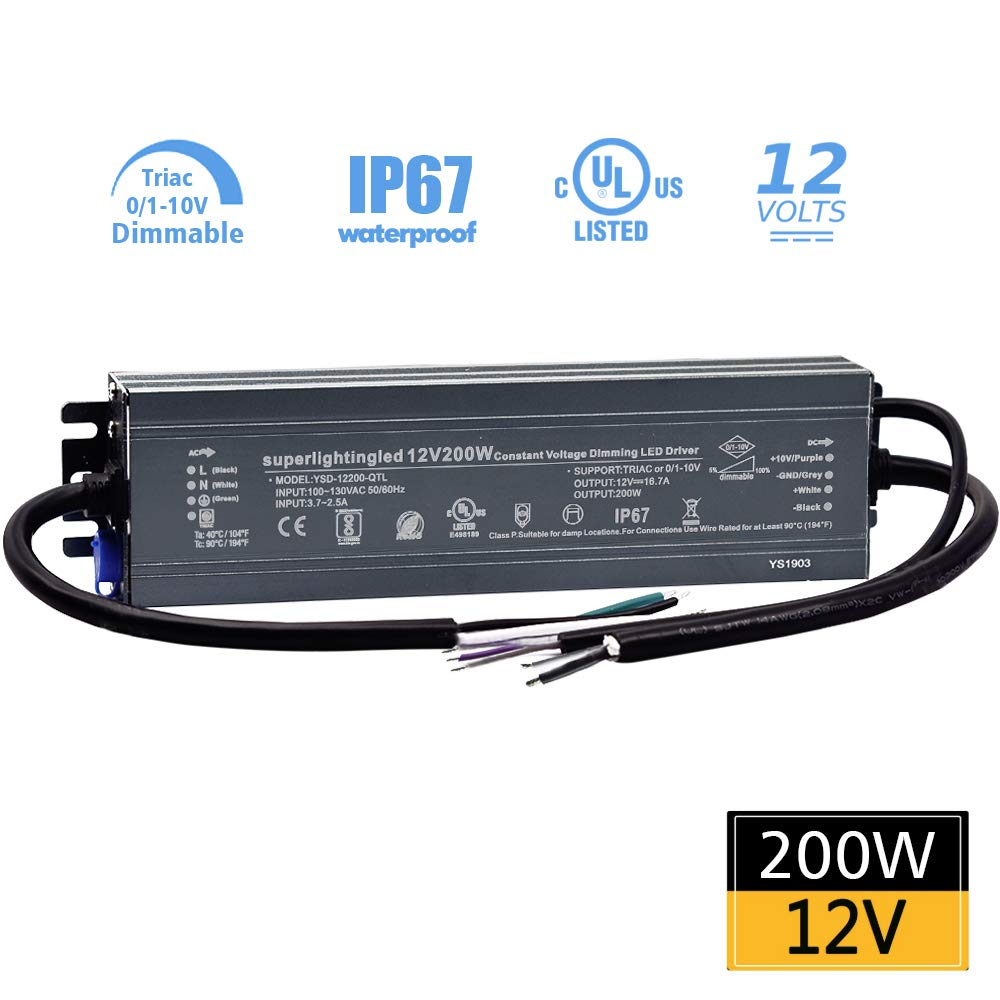 12VDC 200W 0/1-10V&TRIAC Dimmable UL-Listed Waterproof IP67 Thinner Power Supply 110V to 12V Low Voltage Transformer Adapter for IP68 LED Strip Lights, Outdoor Underwater, Wash Wall, Fountain Lights