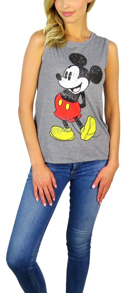 Disney Womens Mickey Mouse Sleeveless Tank Top (Mickey Grey, Large)
