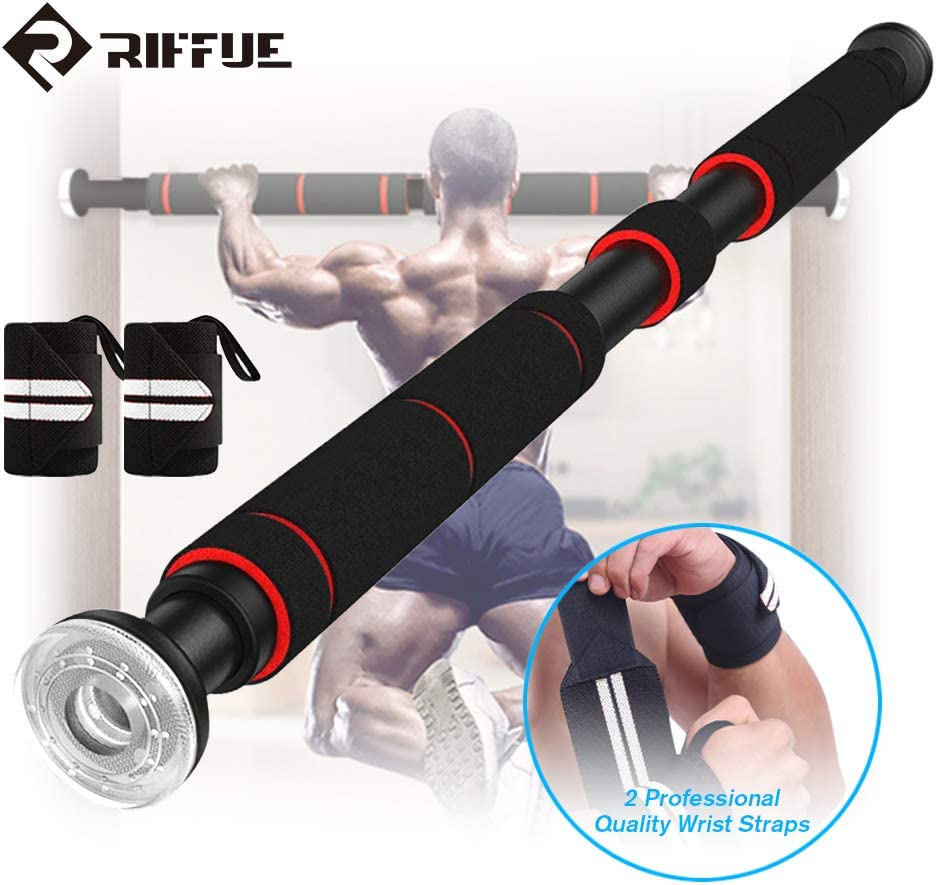 Pull Up Bar for Doorway No Screw Multifunctional Chin Up Bar with Adjustable Hand Grips Sit Up//Push Up Bar Strengthened Thickened No Drilling Required 26 to 36 Inches with 1 Pair of Bracers