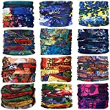 Gbateri 12 Pack Outdoor Multifunctional Sports Magic Bandanas Tube Seamless Headband Scarf Bandana Headwear Turban with UV Resistance, Headscarves, Headbands,Headwraps for Sports Cycling Arm Band