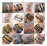 16pcs Handmade Braided Multi Layers Vintage Woven Rope Wrap Bangle Bracelets - Infinity Love Best Friend