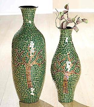 Amazonde Gilde Glas Mosaik Deko Vase Baum Grüngold Braun L 20 X