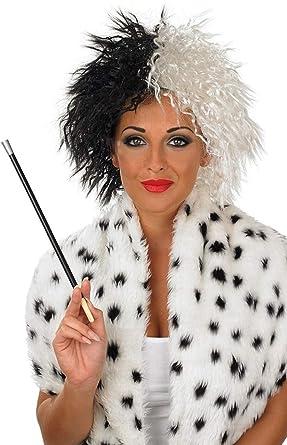 Traje De neopreno para mujer colores blanco y negro Cruella De Vil Ville peluca villano disfraz infantil De disfraz De noche De brujas Accessory: Amazon.es: ...