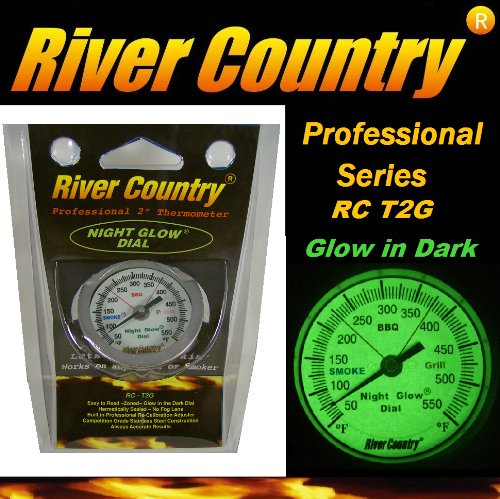 2″ River Country 'Night Glow' Glow in the Dark Adjustable BBQ Grill, Smoker & Pit Thermometer