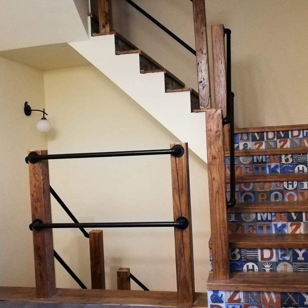 VAN Main Courante pour escaliers int/érieurs Industrie int/érieur-ext/érieur Balustrade Noir Mat escaliers pour Enfants Garde-Corps en m/étal Supports muraux d/ésactiv/és-40cm J