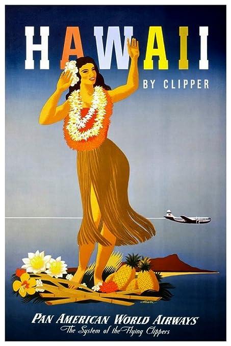 Amazon com: Hawaii by Clipper Hula Girl Vintage Travel Print