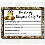 Giraffe Animal Print Baby Shower Games Nursery Rhyme Quiz Cards