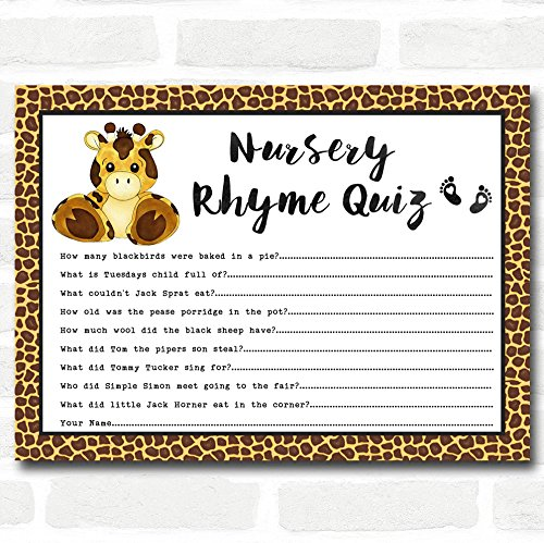 Giraffe Animal Print Baby Shower Games Nursery Rhyme Quiz Cards by The Card Zoo