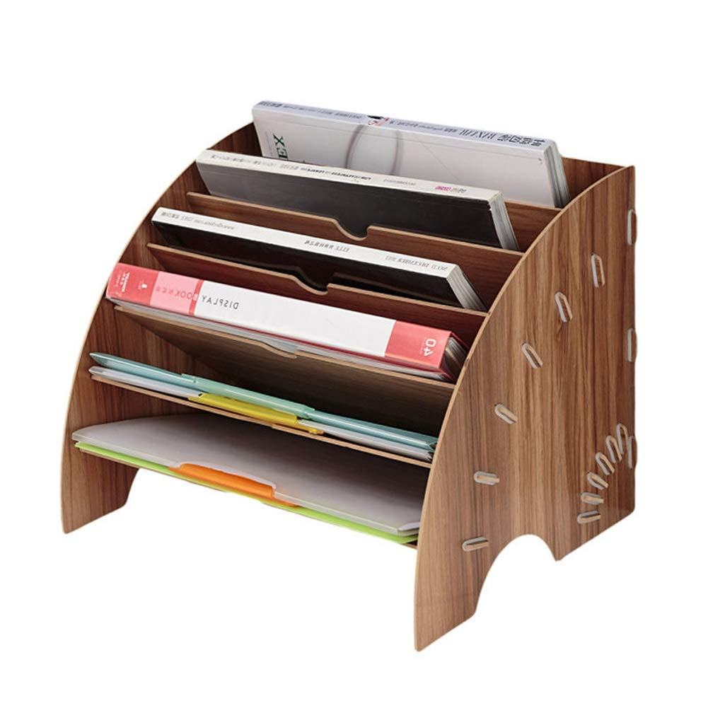 Tmpty Wooden File Storage,Wood Office Desktop Stationery Expanding Filling Rack Tray Holder Organiser,Freestanding Bookshelf by Tmpty