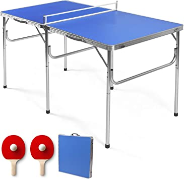 Amazon Com Gymax Indoor Table Tennis Table Set Folding Ping Pong Table With Net 2 Paddles 2 Balls Multipurpose Free Standing Table Tennis Table Kit Sky Blue Sports Outdoors
