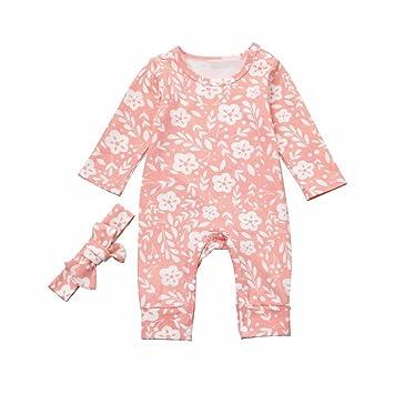 Newborn Infant Kid Girl Flower Print Outfit Clothes Romper Jumpsuit+Headband Set