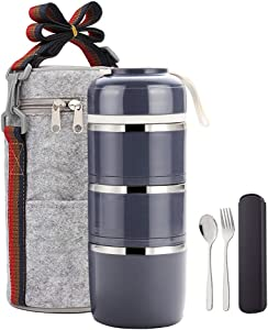 YBOBK HOME Bento Lunch Box Leakproof Stainless Steel Stackable Lunch Box with Bag and Reusable Flatware Set Thermal Food Storage Container for Healthy On-the-Go Meal and Snack Packing (3-Layer, Gray)