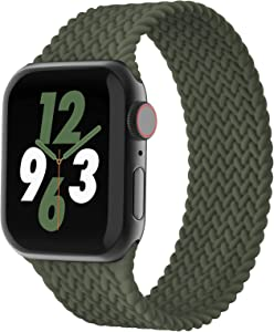 WASPO Silicone Solo Loop Bands Compatible with Apple Watch Band 38mm 40mm 42mm 44mm, Stretchy Silicone Braided Elastic Sport Strap Compatible for iWatch Series 6/5/4/3/2/1/SE