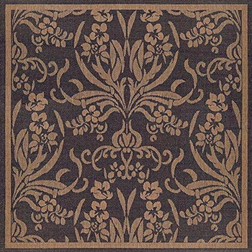 Couristan 1516 0111 Recife Garden Cottage Black-Cocoa 8-Feet 6-Inch Square Rug