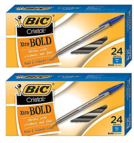 Value Pack of 48 - BIC Cristal Bold (1.6mm) Ball Pen, Blue, 48ct (MSBP241-BE)