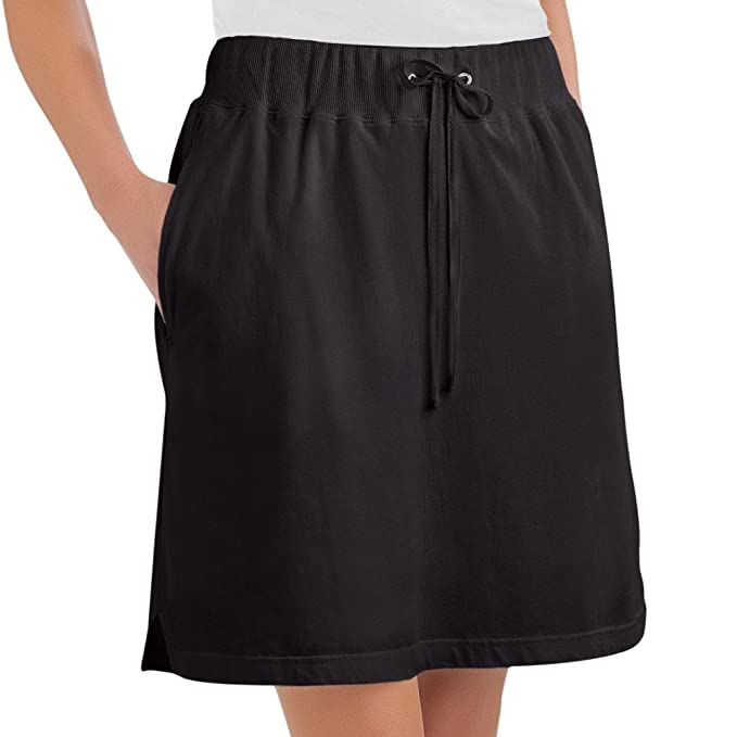 d7e890d37a5fa Amazon.com: Collections Etc Women's Drawstring Cotton Knit Pull-On Skort  with Elastic Waistband - Casual Summer Apparel: Sports & Outdoors