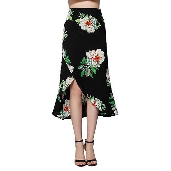 Falda AsiméTrica De Alta Cintura Con CinturóN Mujer LHWY, Falda Vintage De Estampado Flor Verano