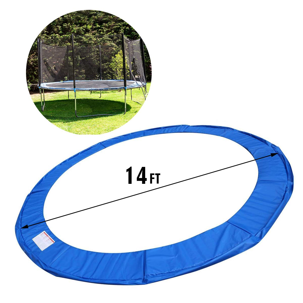 Giantex Trampoline Pad, Exercise Fitness Gymnastics Trampoline,Trampoline Pad Replacement Bounce Frame, Edge Cover Springs Protection Pad, Rebounder Trampoline (Blue, 14 ft) by Giantex (Image #6)