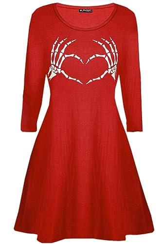 Oops Outlet donna scheletro ossa cuore stampa HALLOWEEN GREMBIULE svasato donna Mini Vestitino stile anni '50 – Rosso, Plus Size (UK 16/18)