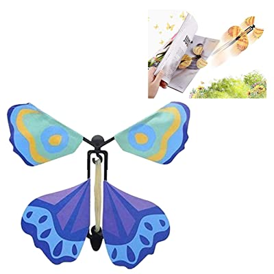 Creative Magic Props Flying Butterflies, Fun and Easy to Use for People of All Ages, Make a Lovely Bookmark While Flying (Blue) : Office Products
